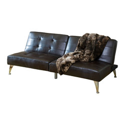 Great Deal Furniture - Lenny 2pc Brown Leather Clik-Clak Sofa Couch - The Lenny Clik-Clak Sofa Couch offers a unique seating solution for any room in your home. The adjustable sofa couch can be laid flat or propped upright to create a backrest, turning it quickly and easily from day bed to sofa couch. Each half of the couch also works independently from the other and can be adjusted as such, catering to individual needs and creating multiple options for any room in your home.