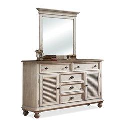 Riverside Furniture - Coventry Two Tone Shutter Door Dresser with Mirror - Shutter Door Dresser: