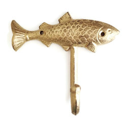 Fish Wall Hook - Fish Hook, wall hanger, key hook, fishing, outdoorsman, lake house, boys room, nursery decor in distressed gold.
