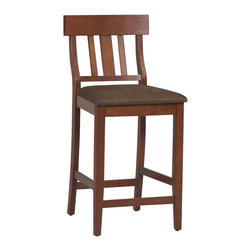 "Linon - Linon Torino Slat Back Bar Stool 30"" in Dark Cherry - Linon - Bar Stools - 01849DKCHY01KDU - The elegance and unique style of this Torino Collection Contemporary Bar Stool will carry throughout your kitchen dining or home pub area. The cushion is piled high for extra comfort and the brown microfiber seat makes this stool versatile for any gathering area. Finished in a rich Dark Cherry. The clean lines and solid construction ensure that this stool is durable enough for a busy kitchen yet elegant enough for a more formal setting. 30"" seat height"