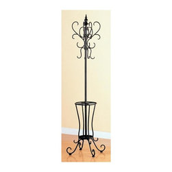 Coaster - Coat Rack in Matte Black Finish - Umbrella holder base. Base provides compact storage for rain gear and related items. Curlicues base design. Curved accents on the top. 20.75 in. W x 71.5 in. H. WarrantyBring a touch of class to your entry way or living room with this metal coat rack.