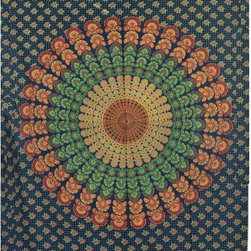 Twin Size Green Indian Floral Mandala Hippie Tapestry Wall Hanging Decor Art -