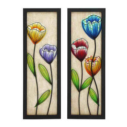 UMA - Fragility Tulips Wall Panels Set of 2 - Two wall panels each featuring delicately wrought tulips in rich colors that depict the fragility and transience of nature
