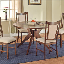 None - Calista 5-piece Dining Set - Add a touch of elegance to your dining room with this sleek five-piece dining set. The smoothly curved backs of the chairs will complement your modern decorating theme. The table and chair frames are made from rubberwood covered in an espresso veneer.
