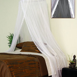 None - Nile Jewel Canopy - Give your bedroom a sophisticated look with this white bed canopy. This ceiling-hung canopy hangs on a 26-inch rattan hoop and is 96 inches long. It is made of polyester,is machine washable for your convenience,and will complement any decor.