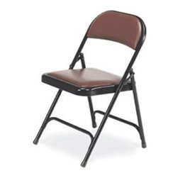 Virco - Folding Chair in Brown Vinyl Finish - Folding chair. Vinyl upholstered seat and back. Front and rear leg braces. GREENGUARD Certified. Made from steel. Seat height: 16.75 in.. Overall: 17.75 in. W x 18.75 in. D x 29.5 in. H (9.6 lbs.)