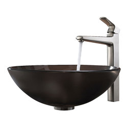 Kraus - Kraus Frosted Brown Glass Vessel Sink and Virtus Faucet Brushed Nickel - *Add a touch of elegance to your bathroom with a glass sink combo from Kraus