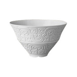 """L'Objet - L'Objet Han White Soup Bowl - The Han collection recalls the first of China's four great dynasties, a period of tremendous artistic achievement. Each piece recollects that rich and prosperous era while retaining a modern design. Limoges Porcelain White Dimensions: 5"""", 8oz. L'Objet is best known for using ancient design techniques to create timeless, yet decidedly modern serveware, dishes, home decor and gifts."""