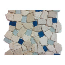 Sea Glass Tile And Pebbles Atlantis Mosiac Blend, Box - Sold by the box 10 sheets