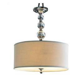 Glass Ball Chandelier - The crystal balls and classic cream shade of this chandelier add a bit of sophistication.