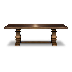 Woodcraft - Long Island Table - This uncommon dining table comes across as rustic and stately at the same time, which is a rich jumping off point to inspire your overall look. Its sand-blasted finish keeps it casual while its thick, column legs lend it a big presence. It will hold its own through many style updates and address changes for years to come.