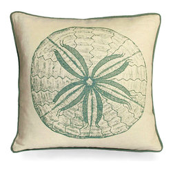 Sand Dollar Pillow - Spa - A vintage style print of one of the seas most well known shells graces the top of this pillow while the edges are beautifully detailed. This 100% linen pillow is ideal for a wicker rocking chair or on a covered patio's bench. Bring the magic of the sea indoors and add a playful touch to your coastal decor. Beautiful sea foam and cream make for a soothing, calming look that works well with transitional decor.