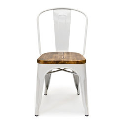 Inmod - Bastille Cafe Stacking Chair w/ Wood Seat (Set of 2), White - The Bastille Cafe Stacking Chair (Weathered Wood Seat) combines spare industrial design with warm, French bistro charm.