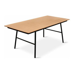 Gus - School Dining Table - The School Table is an elegant and functional design with a no-nonsense, utilitarian aesthetic. The black, powder-coated steel legs are slightly splayed for stability and style. The exposed ply top is available in walnut or natural oak finish. This table pairs perfectly with our School Chairs.