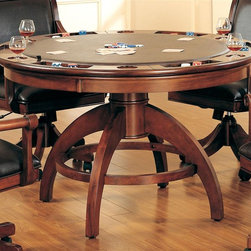 Hillsdale - Palm Springs 2-in-1 Poker Dining Table in Med - Chairs sold separately. Transitional half sphere base. Composed of solid woods, climate controlled wood composites, and veneers. Multi-function table: dining surface on one side, a leather topped game surface on the other. 52 in. Dia. x 31 in. HAdd panache to your game room with Hillsdale Furniture's Palm Springs Game table and chairs. This ensemble can find a home in your game room, den, or kitchen.