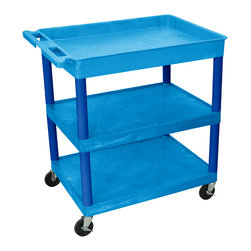 """Luxor - Luxor Tub Cart - BUTC122BU - These Luxor TC series utility carts are made of high density polyethylene structural foam molded plastic shelves and legs that won't stain, scratch, dent or rust. Features a retaining lip around the back and sides of flat shelves. Includes four heavy duty 4"""" casters, two with brake. Has a push handle molded into the top shelf."""