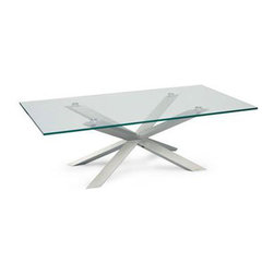 Twist Coffee Table - The Twist Coffee Table lets light circulate to create an uncluttered look. The overlapping chrome legs create visual interest, while the glass top provides a feeling of airiness. This boldly contemporary table is sure to complement your own modern decor.