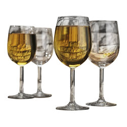 Home Essentials - Vino White Wine Stemmed Glasses-Set of 4 - It is imperative that one have the right glasses for the maximum taste and quality to be felt .Serving white wine in those over 13 oz glass goblets will make your wine more special to the eye and palate. The Set of 4 Vino Wine Stemmed Glasses elevates your table with chic simplicity. Upper scale glass stemware at the everyday price, makes for an ideal presentation at any gathering or party.  He will rejoice with this bar ware as a gift on Father's Day, Birthdays and etc.  * Set of 4 * 13 oz * Vino Collection
