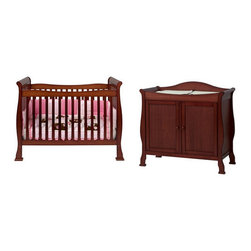 "DaVinci - Reagan 4-in-1 Convertible Crib Set - The Reagan Convertible Crib Set adds a touch of elegance to any nursery with its popular sleigh style. Carefully engineered to evolve in form and function, the Reagan Crib is designed for your child as they grow from infant, to toddler, to youth. Convert the crib to a toddler bed with a safety guard rail included or remove the safety guard rail for a charming day bed, perfect for any playroom. Complete your DaVinci nursery with any of the Parker case pieces to add sophistication to your childs bedroom. Features: -Reagan collection. -Set includes: Reagan crib, toddler rail, 2-door parker changer and parker 4-drawer dresser. -Made of New Zealand Pine wood from sustainable forests. -4 level mattress spring system to adjust to your child's growth. -Toddler rail included. -JPMA certified. -Meets and exceeds federal safety regulations. -Non-toxic finish. -Optional matching conversion rail available to convert crib into full size bed. -This is a NON-Drop Side crib. Dimensions: -Crib: 47.75"" H x 52"" W x 76.63"" D. -Changer: 38.5"" H x 19.25"" W x 39.5"" D, 46 lbs. -Dresser: 47.75"" H x 37"" W x 18"" D, 87 lbs."