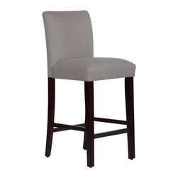 None - Made to Order Uptown Grey Bar Stool - This elegantly designed bar stool becomes the main feature in your kitchen,dining room,or bar decor. Upholstered in soft linen fabric and delicately handcrafted in plush foam padding it's guaranteed to give you a sense of comfort.