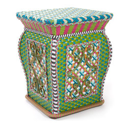 Greenhouse Outdoor Garden Perch | MacKenzie-Childs - Inspired by antique Asian garden stools, our garden perch serves as a seat or a side table. Weatherproof, hand-woven synthetic material on powder-coated iron. A new party essential!
