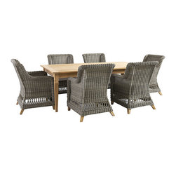 "Ballard Designs - Laurel 7-Piece Rectangular Dining Set - 84"" Rectangular Table and 6 Dining Arm Chairs. Coordinates with Laurel Outdoor Collections and Classic Teak Collections. Includes washable off-white box cushions. Cushions are extra thick for long lasting comfort with tailored top stitching on all seams. All cushions attach to ""D"" rings for snug fit that stays in place. The Laurel Outdoor Collection has a classic look that reminds us of warm summer days from long ago. Each piece starts with a sturdy, rust-resistant aluminum frame and then hand woven of durable, all-weather wicker to resist fading and damaging moisture. Off-white box cushion and natural teak feet add the perfect finishing touches. Laurel Dining Set features:. . . .  . Weathered gray finish. Natural teak feet. Use of an outdoor furniture cover is recommended to extend the life of your piece."