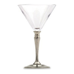Match Pewter - Crystal Martini Glass by Match Pewter - This impressive pewter and crystal bar collection from Match pewter wont go unnoticed at your next gathering. A collection handmade in northern Italy, each piece bears a stamped symbol from the region in which it was made.