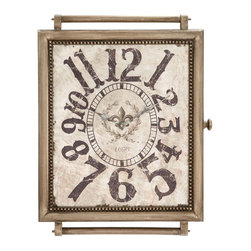 Benzara - Designed Wood Wall Clock In Crafty and Arty Look - An ideal addition to your living space, this wood wall clock embellishes any wall with its vintage elements. The wooden bezel is intricately crafted with attention to fine detailing. The dial sports an inlaid metallic trinket on the edge which beautifies the overall design. The clock flaunts a rustic off white dial with numbers and is ornately embellished with a Fleur de lies at the center. This beautiful work of art has subtle discoloration to augment its vintage appeal. A screw and wooden handles on the sides provide a surrealistic look. It also shows accurate time so you keep your appointment with your boss. The wooden wall clock acts as a perfect gifting option for those having a penchant for antique collectibles. This clock is made from wood, and has a prolonged shelf life.