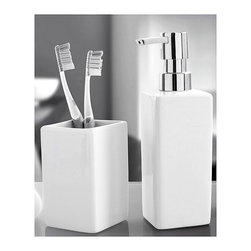 Luxury Porcelain Bathroom Accessories Set - 2 Pieces, White - Liquid soap dispenser and tumbler 2 piece set in beautiful thick porcelain. Colorful porcelain countertop accessories in white, black, red, blue and grey.  The tumbler also can be used as a toothbrush holder. Made in Germany. Tumbler (W) 2.25in x (H) 4.0in ; Dispenser (W) 2.25in x (H) 7.5in