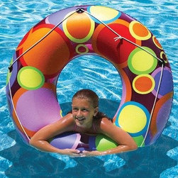 "Poolmaster - 48"" Bright Color Circles Pool - Constructed with tough vinyl material the 48"" bright color circles pool tube by poolmaster is for children 8 years and older."