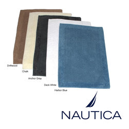 Nautica - Nautica Reversible Cotton 2-piece Bath Rug Set - This Nautica Cotton Two-piece Rug Set includes a 17 x 24-inch bath mat size and a 20 x 33-inch bathroom rug size. The rugs are 100-percent cotton, reversible and are available in five dynamic colors.