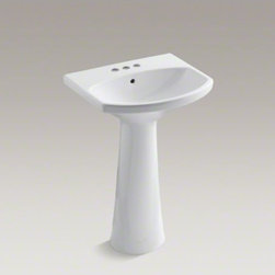 "KOHLER - KOHLER Cimarron(R) pedestal bathroom sink with 4"" centerset faucet holes - The Cimarron collection combines the best of traditional and contemporary design for a versatile look that complements a range of bathroom styles. Beveled edges and simple lines enhance the uniquely shaped basin."