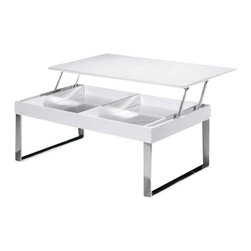 Modern White Coffee Table With Lift Top Jet - Coffee Table Jet is contemporary combination of high gloss MDF table top with chromed stainless steel base.