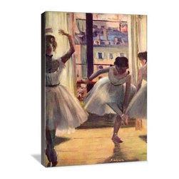 """Artsy Canvas - Three Dancers In A Practice Room 24"""" X 36"""" Gallery Wrapped Canvas Wall Art - Three Ballet Dancers Practice - Edgar Degas (1834-1917) was a French artist famous for his work in painting, sculpture, printmaking and drawing. He is regarded as one of the founders of Impressionism. beautifully represented on 24"""" x 36"""" high-quality, gallery wrapped canvas wall art"""