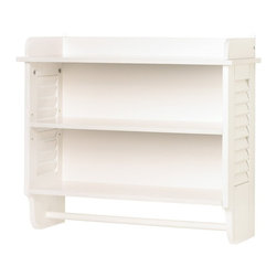 Gifts & Decor Nantucket Home White Bathroom Wall Shelf Towel Holder - Features: Stylishly designed wall mounted bathroom shelf, Finished in a refreshing and bright white color, Louvered style design on the sides of the shelves, Offers plenty of display options for bathroom essentials, Enhances the appeal of any bathroom decor