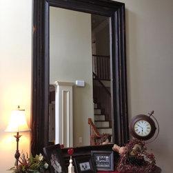 "Entry Way Hanging Mirror - Rustic Black wall mounted mirror, interior dimensions 36"" x 72"" 8.5"" profile"