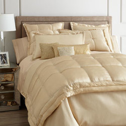 Donna Karan Home - Donna Karan Home Modern Classics Quilted European Sham - Silk accented with a tufted border; backed with cotton sateen. Dry clean. Select color when ordering.