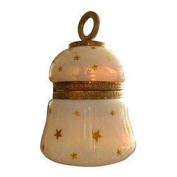 """Pre-owned French Opaline Glass Table Lighter - We're all starry-eyed over this stellar table lighter with exquisite French opaline and a fiery opalescence. The painted stars are all in beautiful condition. It appears to have never been used; flint sparks and clean wick in place. Marked inside lighter mount """"Made in France"""" and """"Depose"""" and marked on bottom of lighter """"Evans"""", """"Full."""" There is a bit of original paper sticker still on bottom."""