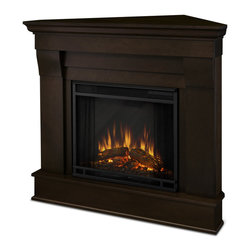 Real Flame - Chateau Corner,door Electric Fireplace, Dark Walnut - The Chateau Corner Electric Fireplace features the clean lines and classic styling familiar to stone mantels, realized in wood. In three great finishes, this design is sure to compliment a variety of decor, from classic to contemporary. The Vivid Flame Electric Firebox plugs into any standard outlet for convenient set up. The features include remote control, programmable thermostat, timer function, brightness settings and ultra bright Vivid Flame Led technology. Available in White, Dark Walnut, or Espresso finishes.