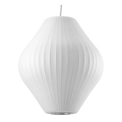 Modernica - Bubble Lamp, Pear, Medium - Taking its cues from midcentury design, this handcrafted ceiling pendant features a white ridged shade in an onion shape, six feet of white cord and a brushed-nickel ceiling plate. Flank your bed or vanity with two or place one over your breakfast table for a little earthy, organic enlightenment.