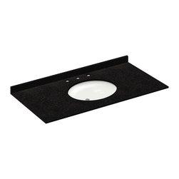 LessCare - 49x22 Absolute Black Granite Vanity Countertops - 8 Faucet Spread - *Condition: New