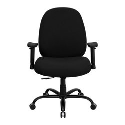 Flash Furniture - Hercules 500 lb. Capacity Big and Tall Black Fabric Office Chair with Arms and E - This chair has been tested to hold up to 500 lbs.! Not only will this chair hold the above average person, but it is amazingly comfortable. Chair will appeal for users of all heights and weights because of its comfort and sturdy construction. Chair provides a number of adjustable mechanisms so users can achieve their custom fit. Height adjustable arms are an added bonus to add to the appeal of this chair.