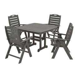 Polywood - Nautical 5-Piece Dining Set in Slate Gray - Your outdoor deck will soon become the whole family's favorite port of call when you furnish it with the Polywood Nautical 5-Piece Dining Set. Relaxed enough for casual dining yet perfectly suited for elegant affairs, this collection requires very little maintenance to retain its good looks. This durable group is constructed of solid recycled lumber that has the look of real wood and requires no painting, staining and waterproofing. Polywood lumber does not splinter, crack, chip, peel or rot and it is resistant to corrosive substances, insects, fungi, salt spray and other environmental stresses and also resists stains associated with wine and condiments.