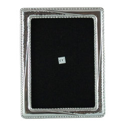 Sterling Silver 8x10 Picture Frame - Smooth with Hammered - -Made from 950 Peruvian sterling silver