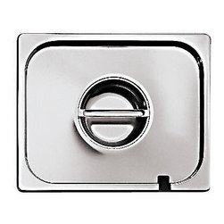 Paderno World Cuisine - 20 7/8 in. by 12 3/4 in. Stainless-steel Notched Lid for Hotel Pan - This 20 7/8 in.  by 12 3/4 in.  stainless-steel notched hotel food pan lid is a standard size which fits on all standard hotel food pans. This standard was intended to rationalize the working processes in food industry operations by creating a high level of compatibility of kitchen equipment. All lids are stackable and have rounded reinforced edges. They are made of 21-gauge, 18/10 mirror-polished stainless-steel. They have seamless construction and are durable, corrosion-resistant and non-tarnishing. They do not react to any food and protect flavors. In addition to in-process control during manufacturing and fabrication, these metals have met the specifications developed by the American Society for Testing and Materials (ASTM) with regard to mechanical properties such as toughness and corrosion resistance. The Palermo series is a part of a lineage of cookware more than 80 years old. It is NSF approved.