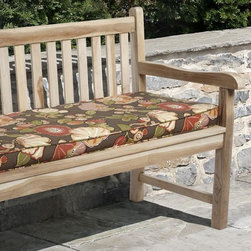 None - Kate Brown Floral Outdoor Bench Cushion Made with Sunbrella - This Kate outdoor cushion features beautiful fabric in chocolate with accents of orange,green,ivory and pink. This 60-inch bench cushion is stain,fade and mildew resistant for years of enjoyment.