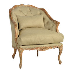 Emily Chair, Beige - The Emily chair is a great choice for traditionally elegant occasional seating. Featuring a wood frame with a distressed light finish and beautiful carving highlighting the apron and legs, this chair boasts overstuffed upholstery with button-tufting across its back. A single toss pillow completes the tasteful upholstery of this accent chair.