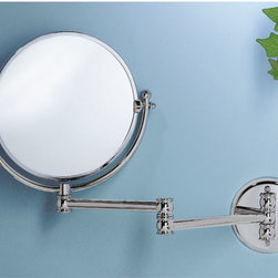 """Round Swinging Vanity Mirror - This piece features a round two-sided mirror that is attached to an extendable, swinging arm that reaches 14"""" from the wall."""