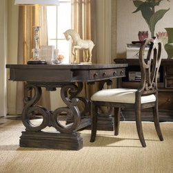 Hooker Furniture Davalle Writing Desk - Make the Hooker Furniture Davalle Writing Desk the center of attention in any room. This beautiful piece offers ample inspiration with a solid wood construction and rustic grey finish. Side drawers provide plenty of storage while a center drawer features a drop down face for a keyboard. Dramatic side legs offer classic curves and a center foot post. Add the matching optional chair with padded seat to complete the look.About Hooker Furniture CorporationFor 83 years, Hooker Furniture Corporation has produced high-quality, innovative home furnishings that seamlessly combine function and elegance. Today, Hooker is one of the nation's premier manufacturers and importers of furniture and seeks to enrich the lives of customers with beautiful, trouble-free home furnishings. The Martinsville, Virginia, based company specializes in lifestyle driven furnishings like entertainment centers, home office furniture, accent tables, and chairs.Construction of Hooker FurnitureHooker Furniture chooses solid woods and select wood veneers over wood frames to construct their high-quality pieces. By using wood veneer, pieces can be given a decorative look that can't be achieved with the use of solid wood alone. The veneers add beautiful accents of color and design to the pieces, and are placed over engineered wood product for strength. All Hooker wood veneers are made from renewable resources and are located primarily on the flat surfaces of the furniture, such as the case tops and sides.Each Hooker furniture piece is finished using up to 30 different steps, including 13 steps of hand-sanding and accenting. Physical distressing is done by hand. Pieces receive two to three coats of solid lacquer to create extra depth and add durability to the finish. Each case frame is assembled using strong mortise-and-tenon joints, which are then reinforced by mechanical fasteners and glue. On most designs, end panels extend to the floor to add strength and stabilit