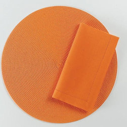 "Origin Crafts - Orange hemstitch napkins set of 4 - Orange Hemstitch Napkins Set of 4 Napkins & Placemats sold separately. Sets of four. 100% cotton. Machine wash cold separately; tumble dry low. Dimensions: Napkins - 20"" x 20"" By Tag Ltd. - Tag Ltd. is a supplier of decorative accessories. Ships out in 2-3 Business Days."
